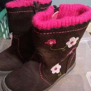 Brown Boots with Pink Flowers